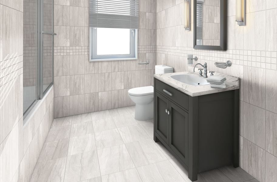 faux marble wall tile in bathroom