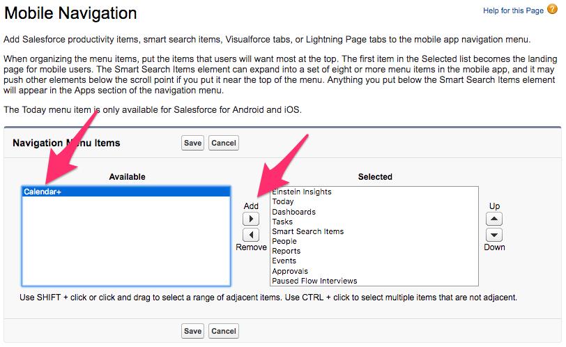 Adding Calendar+ to Salesforce1 Mobile App – Customer
