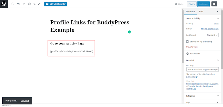 Profile Links for BuddyPress Plugin