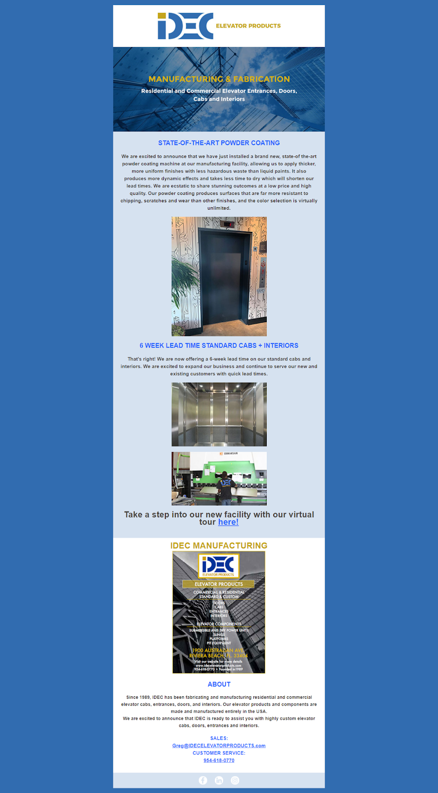 Delaware Elevator email template