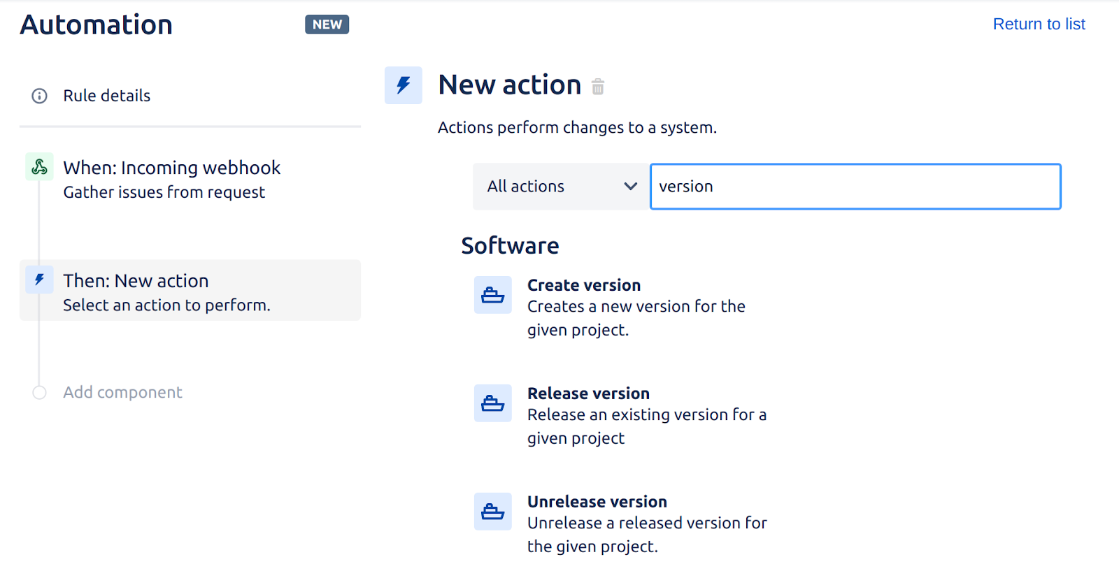 """Jira's automation interface showing a new action with the search box filled in with """"version"""""""
