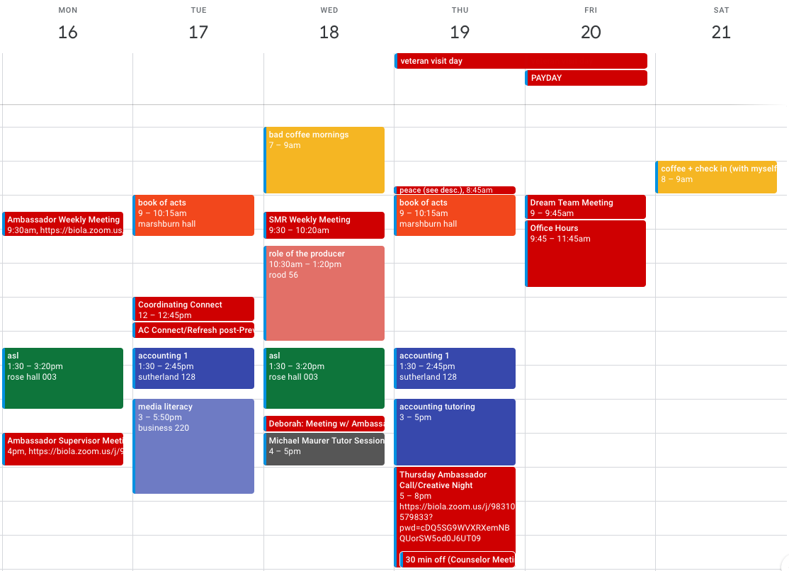This is an example of what my Google Calendar looks like
