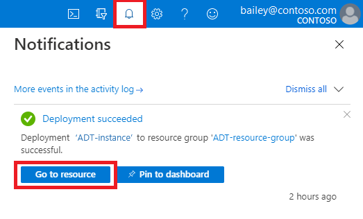 View of Azure notifications showing a successful deployment and highlighting the 'Go to resource' button