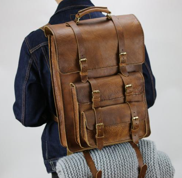 leather backback gift idea for dads and men for working from home