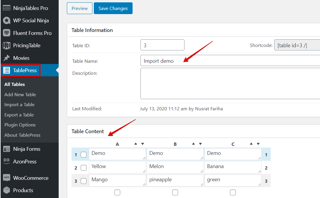 create a data table with imported files or from table data