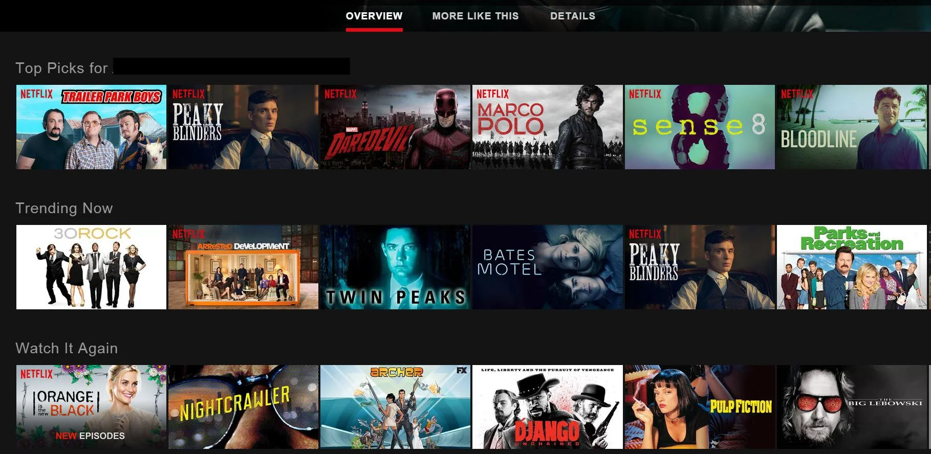 Top picks of movie and tv suggestions on Netflix for a user.