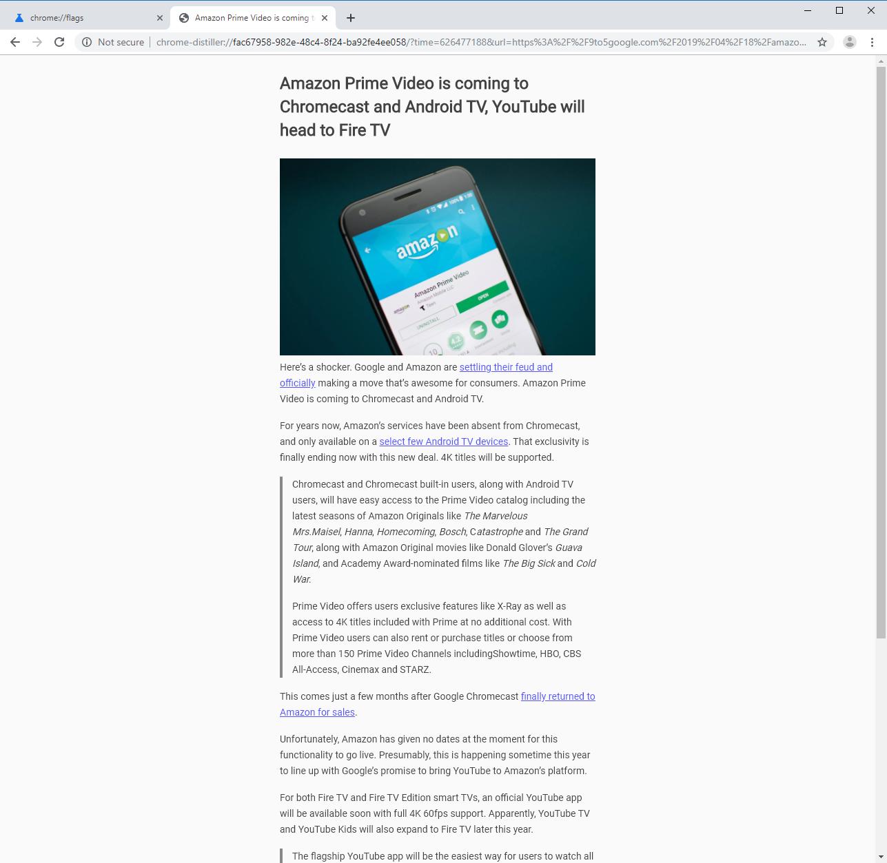 Mode lecteur d'un site web