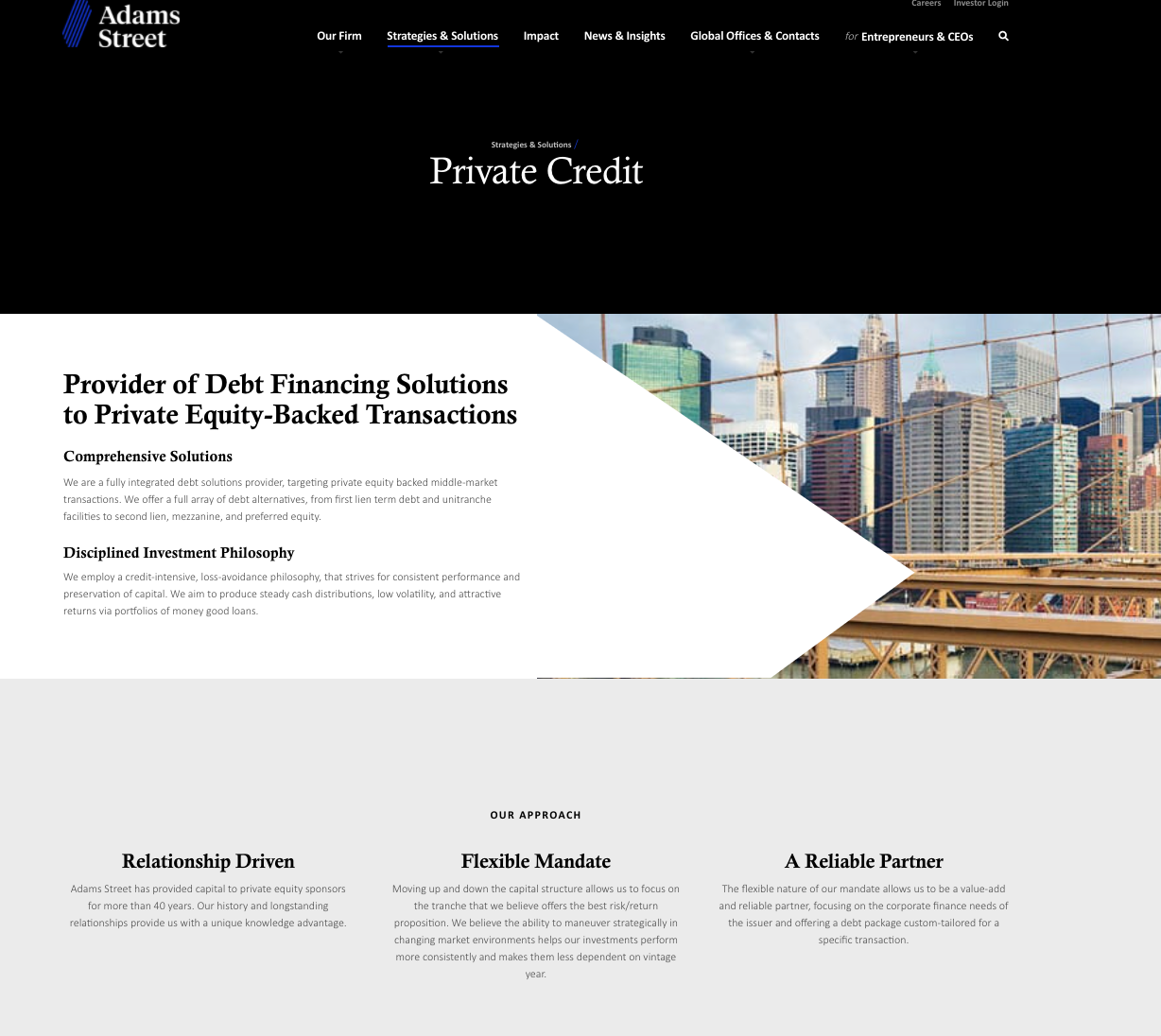 Adams Street Partners service page example