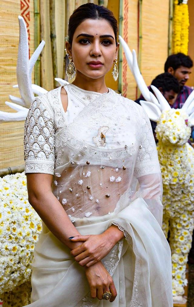 Samantha white transparent designer saree