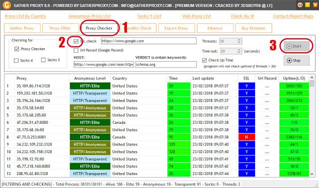 Comment tester une liste de proxy avec gather proxy premium