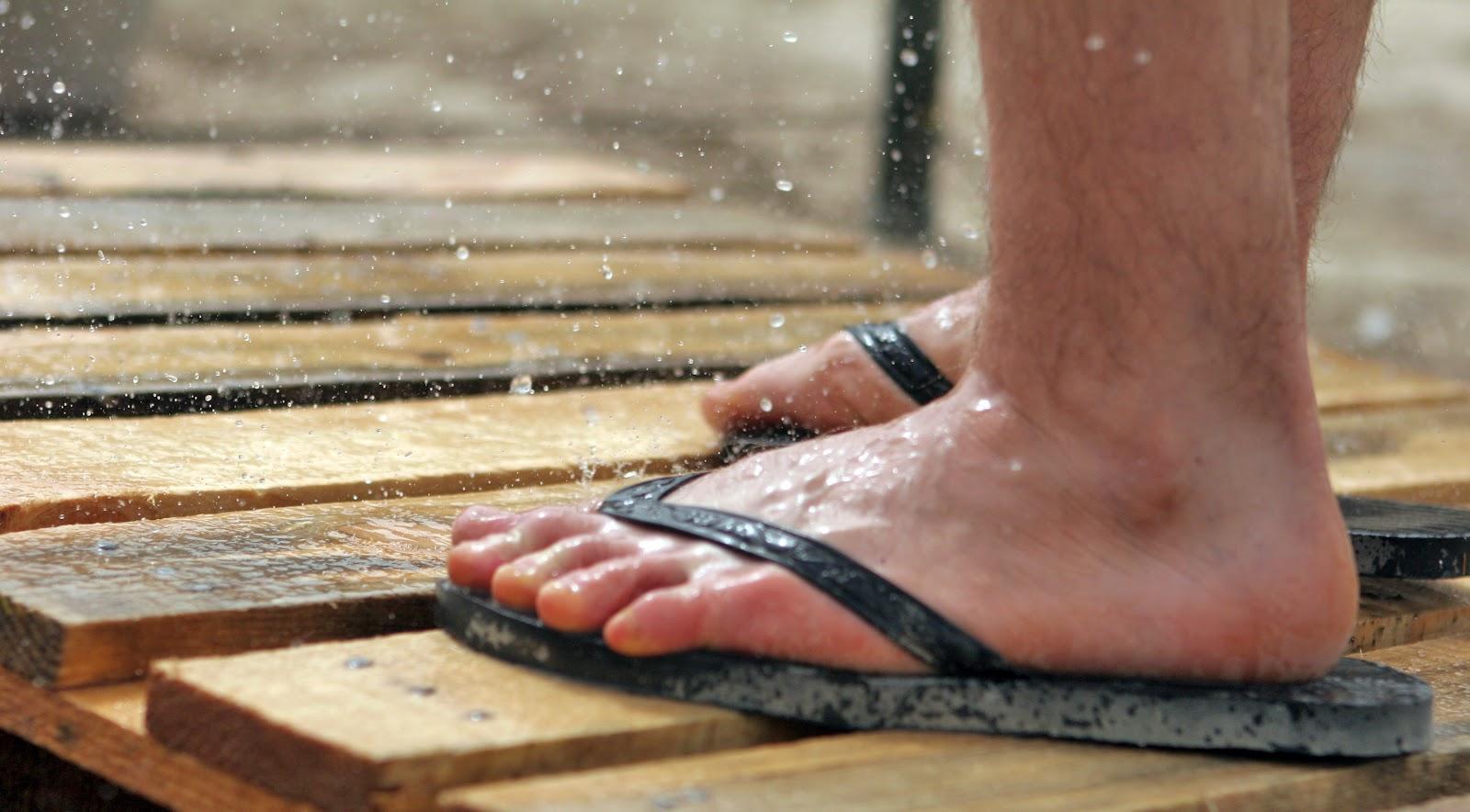 Sandals in the rain
