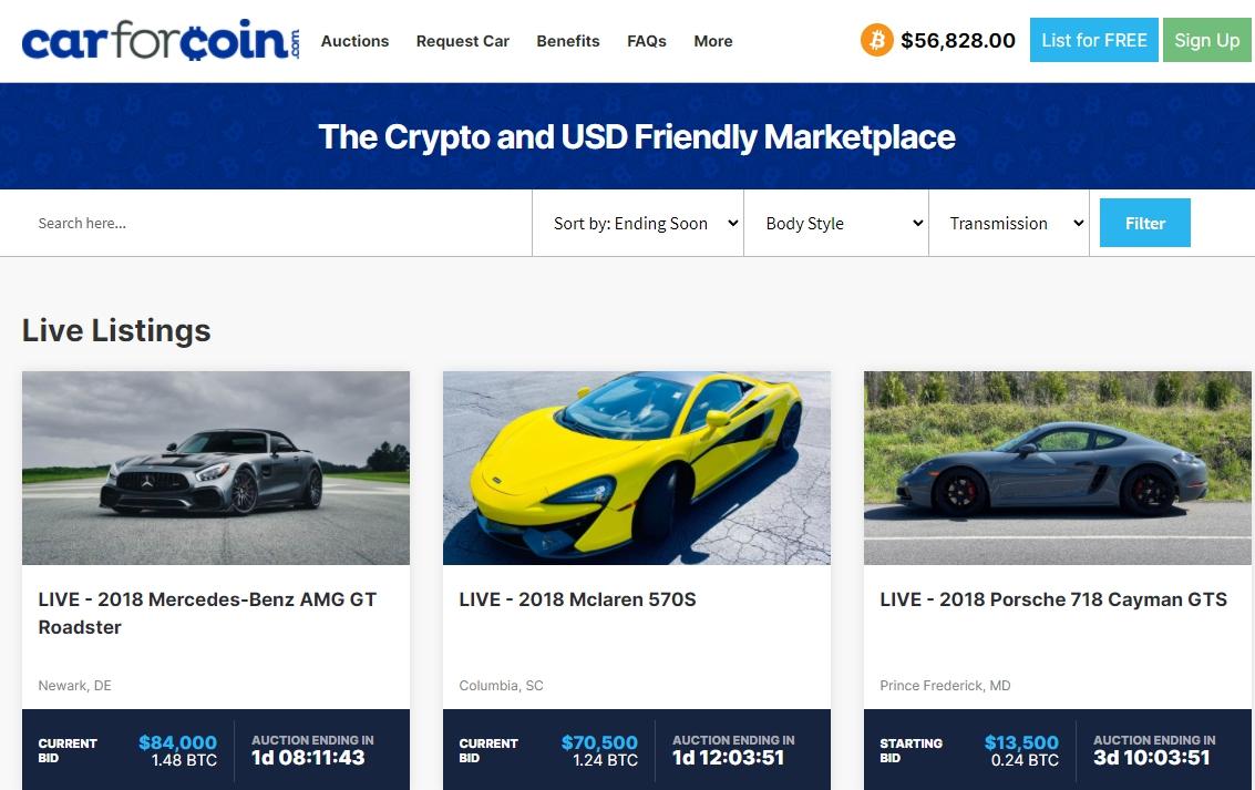 Аукционная платформа Car For Coin начала принимать биткоин