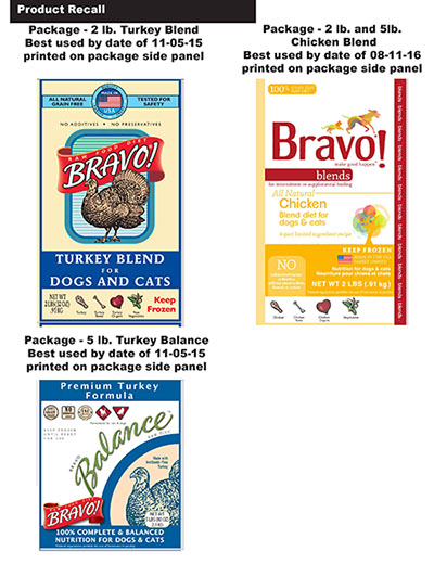 Labels for recalled dog and cat food