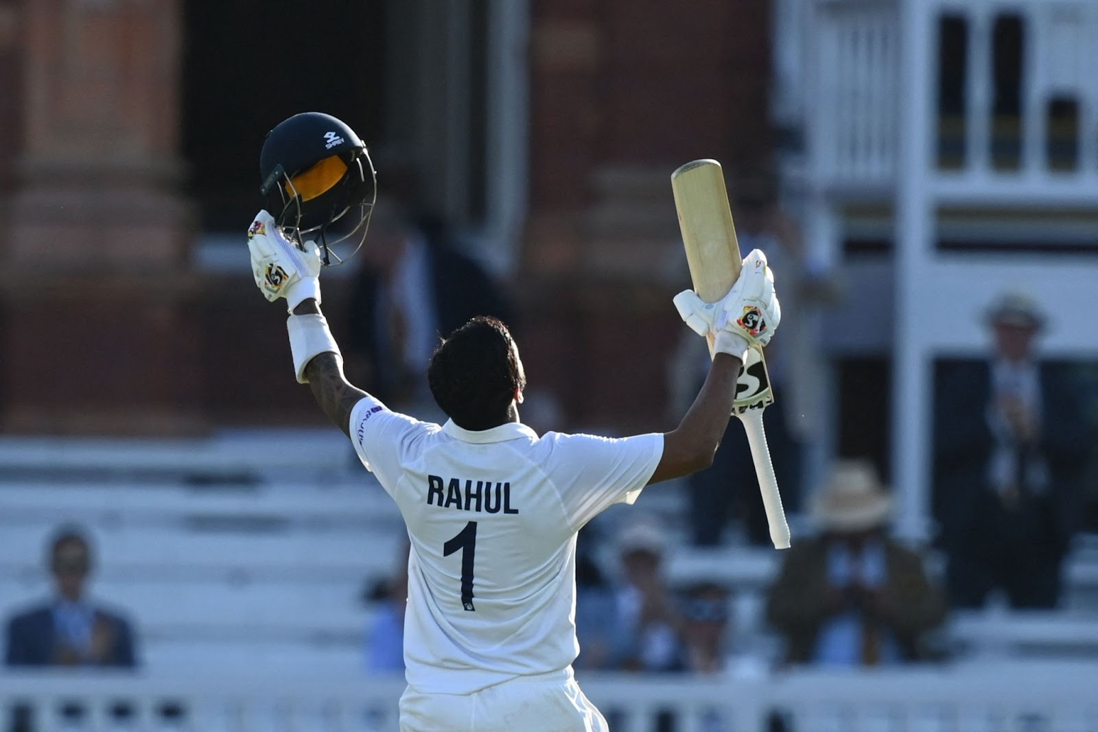 KL Rahul celebrates his ton at Lord's