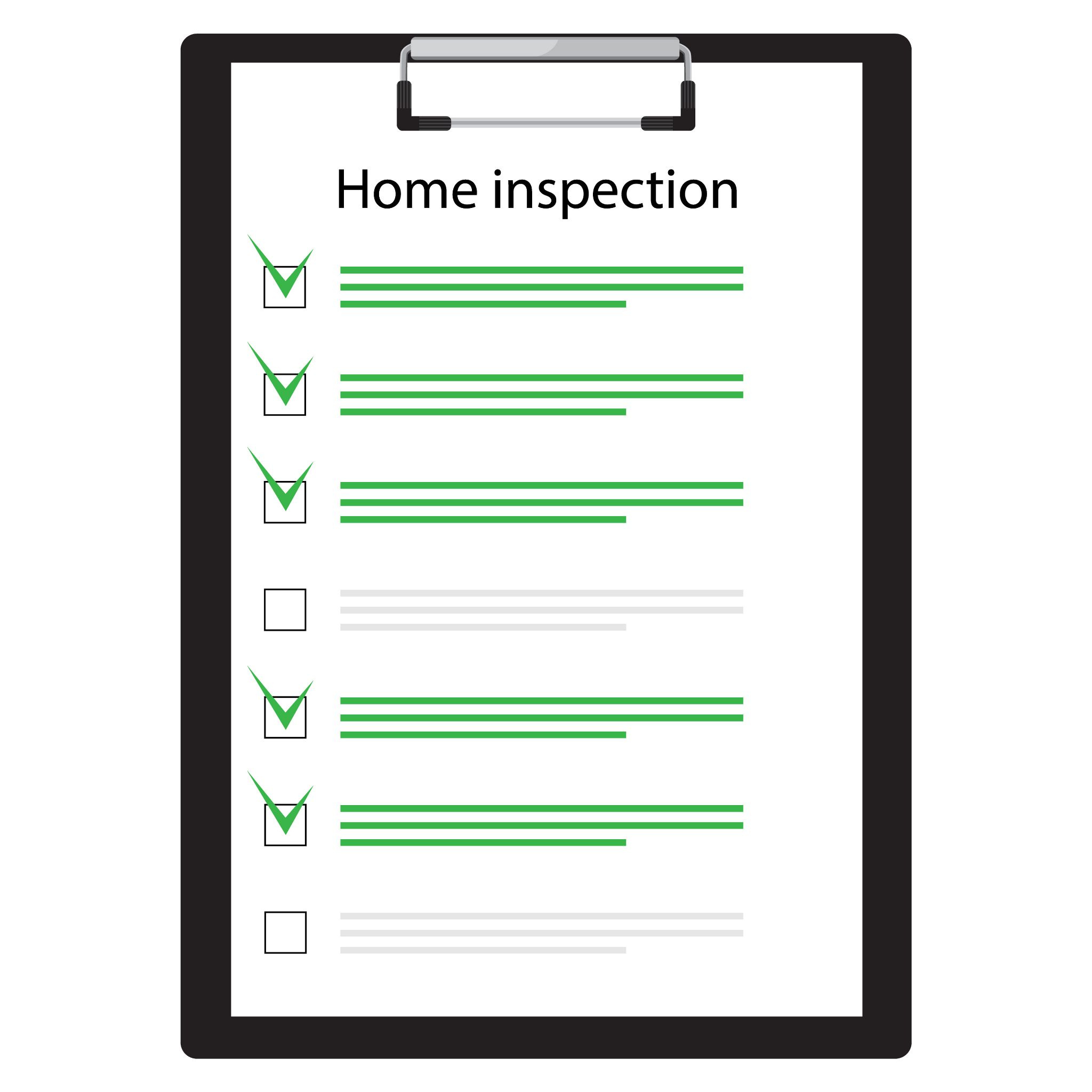 Home inspection check sheet graphic.