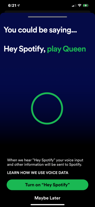 Spotify stays quiet about launch of its voice command 'Hey Spotify' on  mobile | TechCrunch