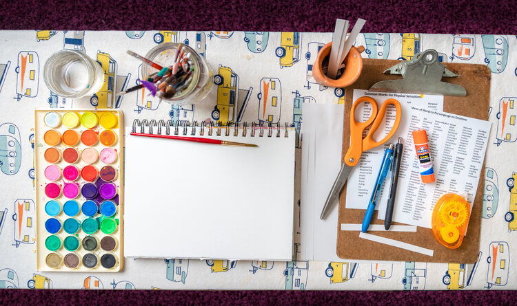 The basic tools you'll need for this exercise: paint, paper to paint on, paint brush, some cardstock or thicker paper, a pen or pencil, scissors. Optional: glue, list of feelings and physical sensations (I used this one I found on the internet:    Link   )
