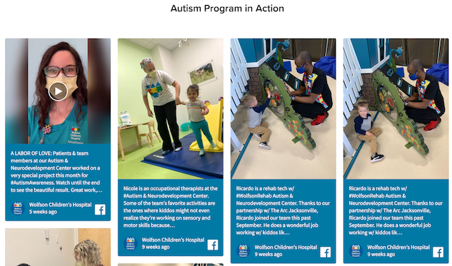 Screenshot of Wolfon's Children's social wall displaying pictures of kids during their treatments.
