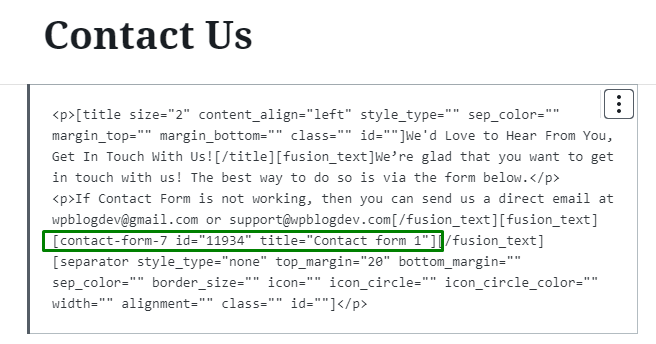 shortcode contact form 7 plugin