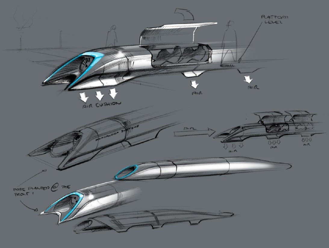 Conceptual design sketch of the Hyperloop passenger transport capsule from the Hyperloop Alpha system proposed by Elon Musk in 2013