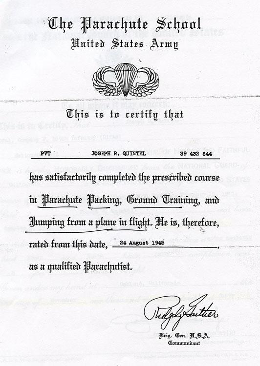 Parachute training graduation certificate