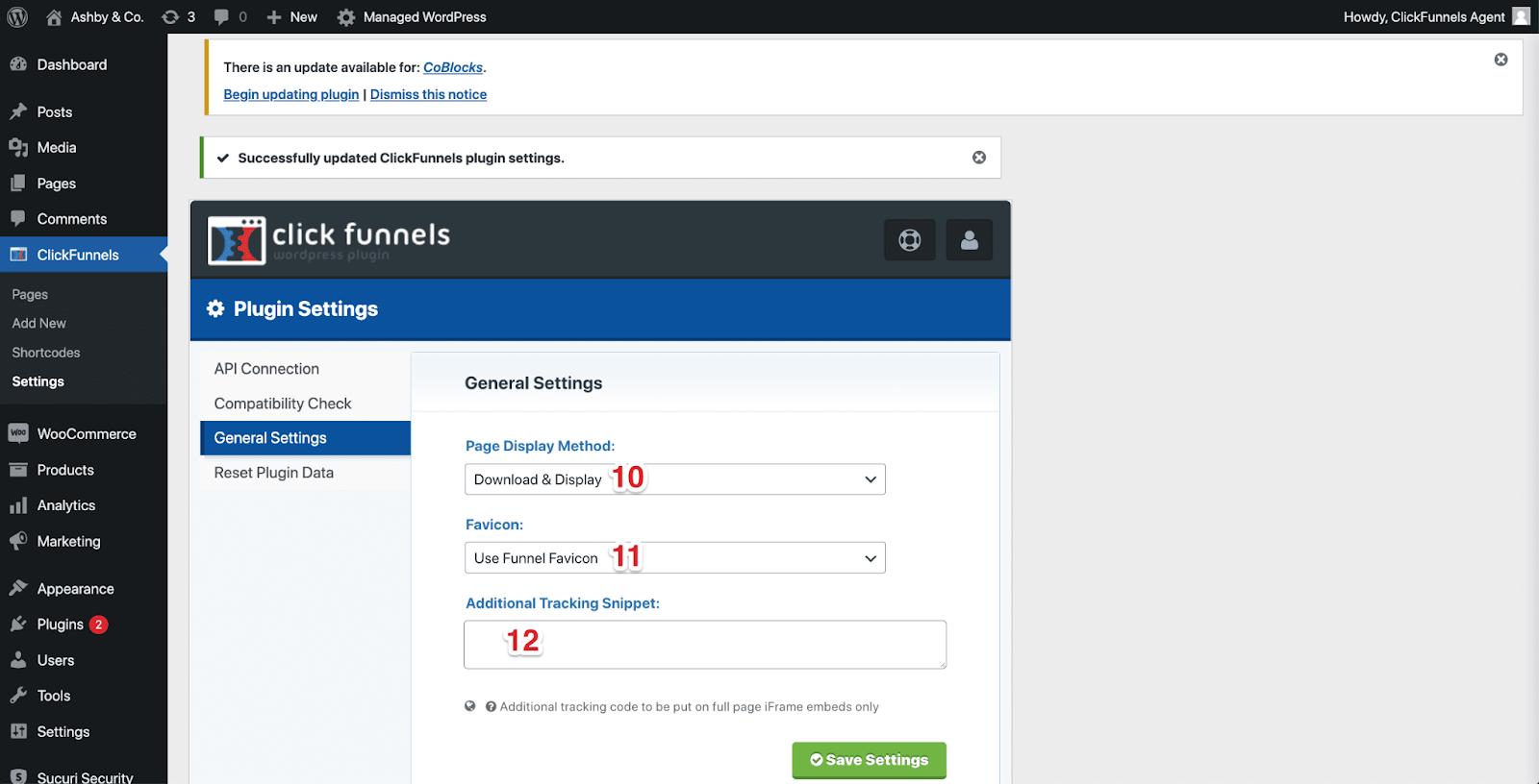 The ClickFunnels WordPress dashboard