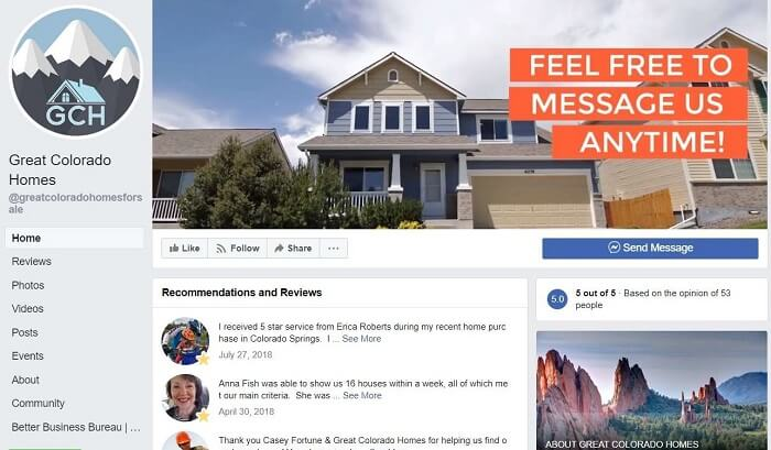 "Facebook Profile of ""Great Colorado Homes"" Real Estate Agency"
