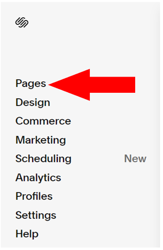 Pages in Squarespace menu