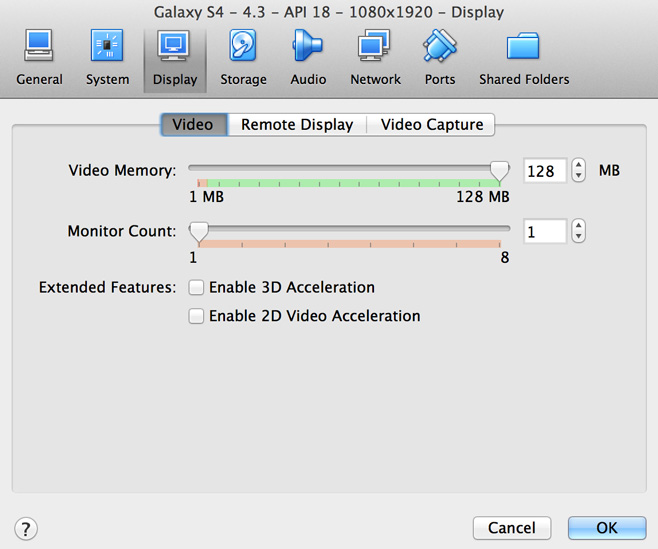 VirtualBox Video Memory