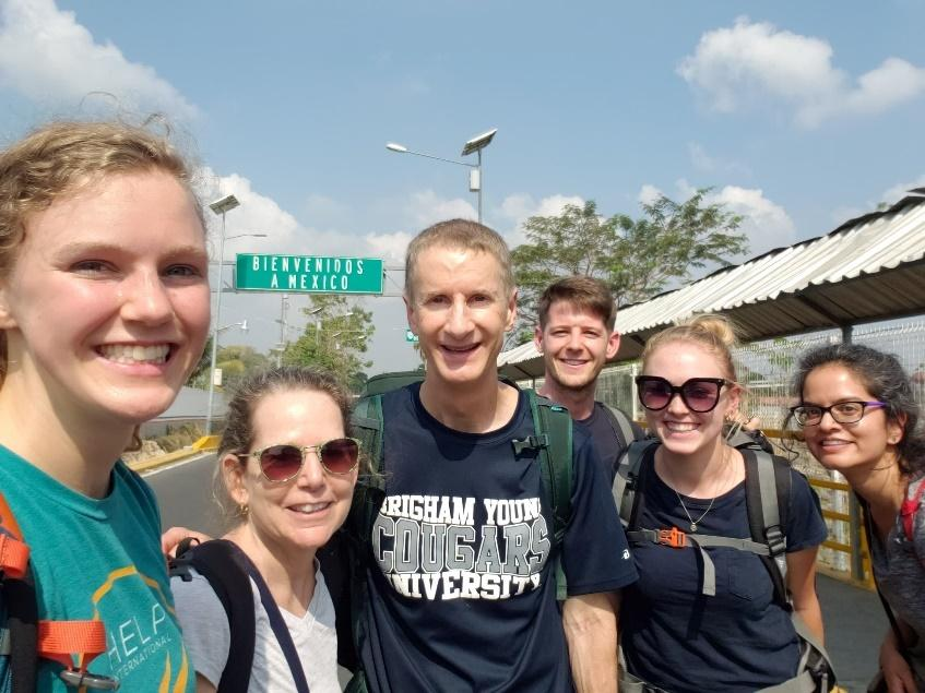 Krissa Hendricks and Kent Hendricks with a group of Americans crossing the Mexico border.