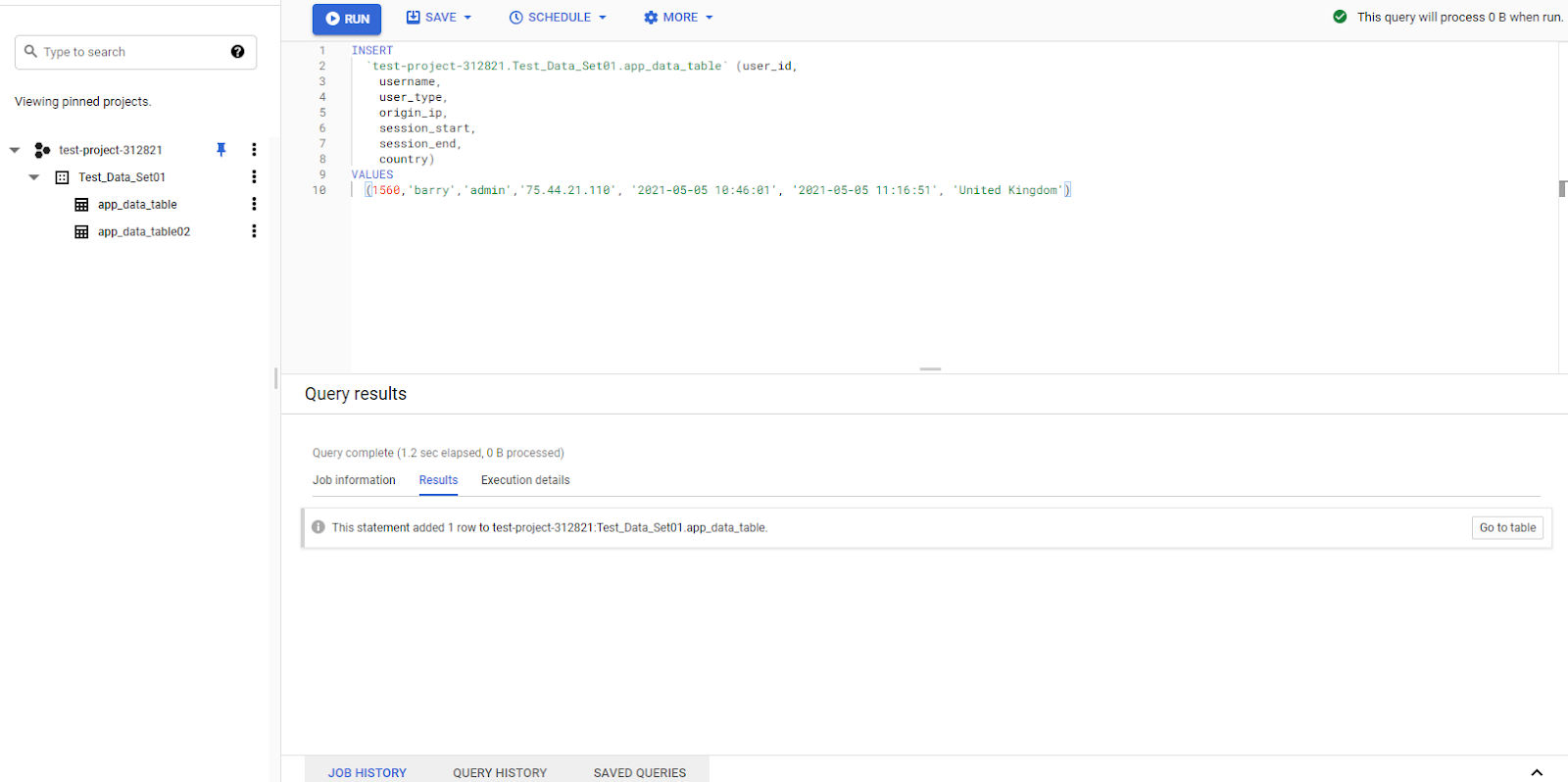 add data to bigquery table using sql