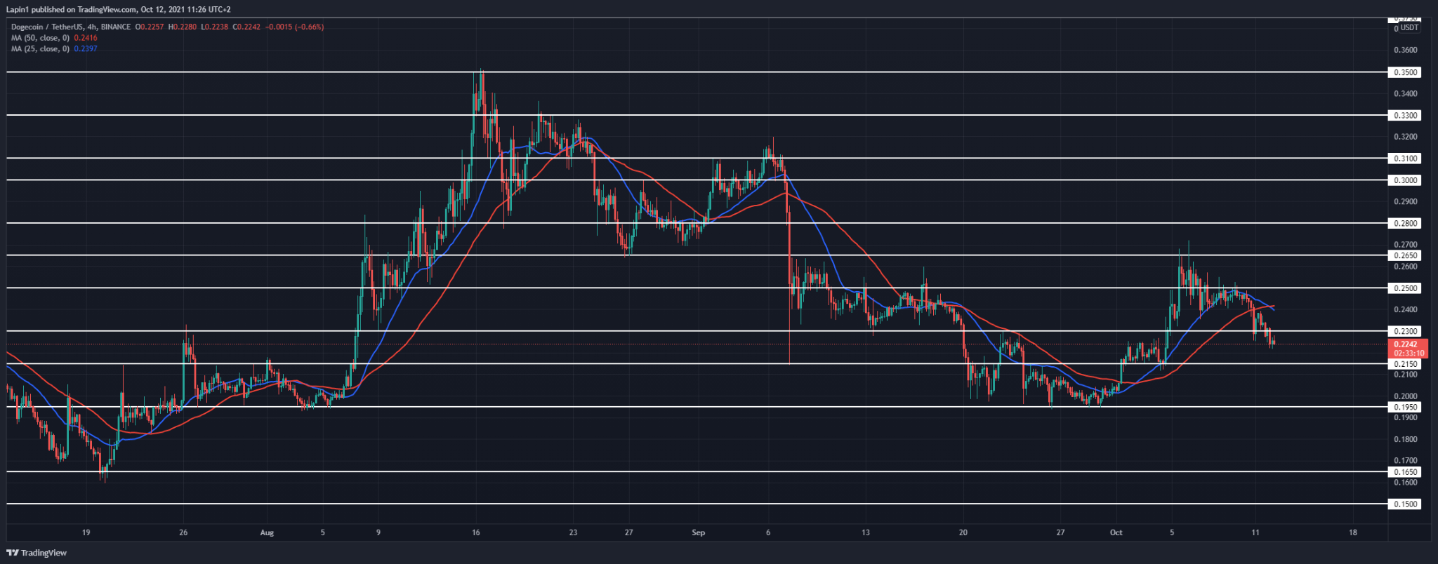 Dogecoin Price Analysis: DOGE continues to retrace, $0.23 support broken