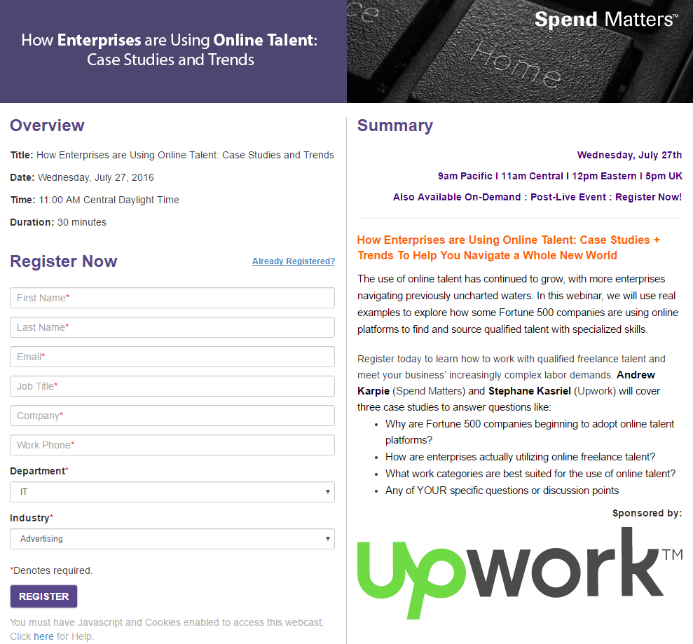 Great landing pages Upwork