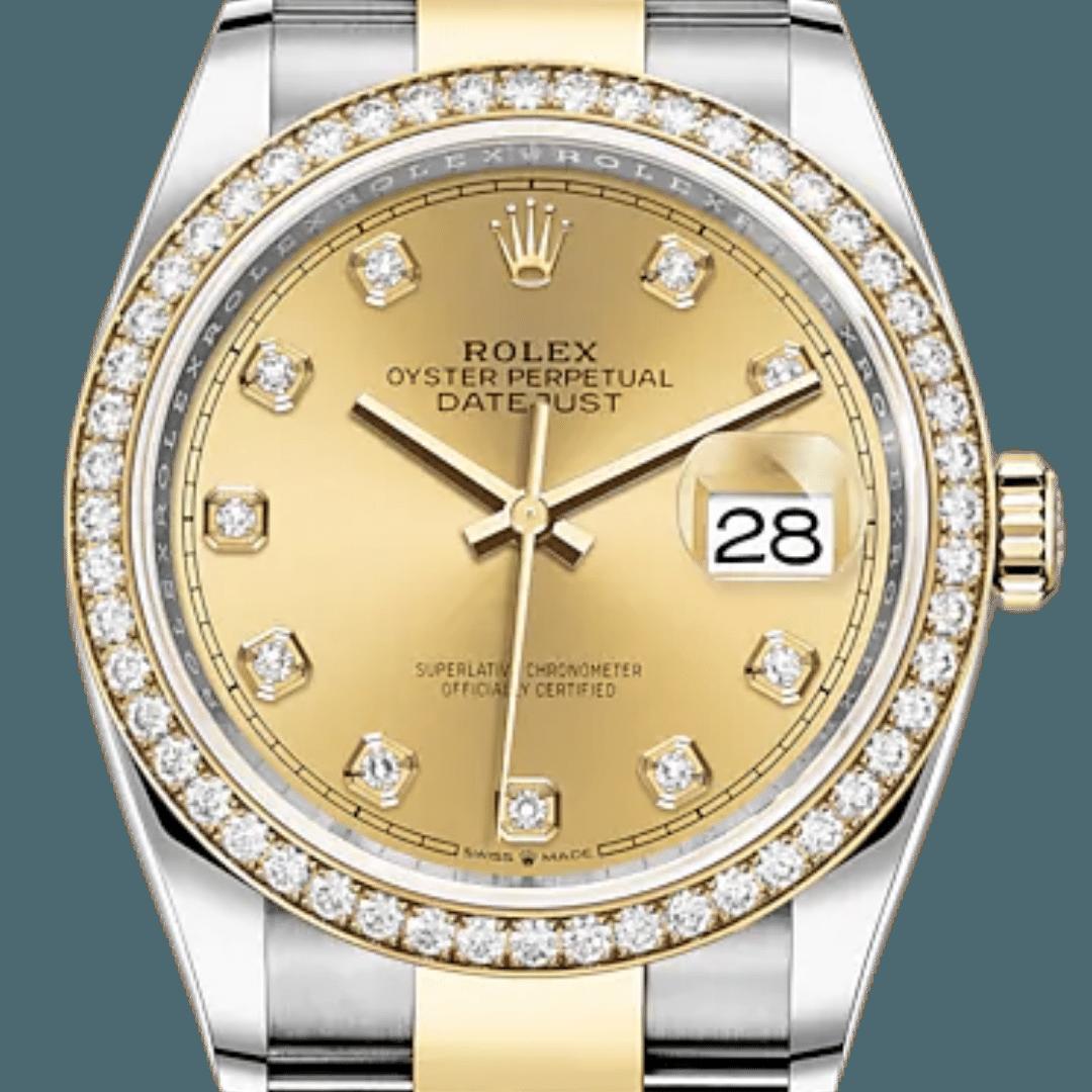 Rolex Datejust watch featuring diamond markers