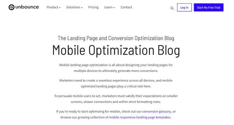 Unbounce mobile optimization