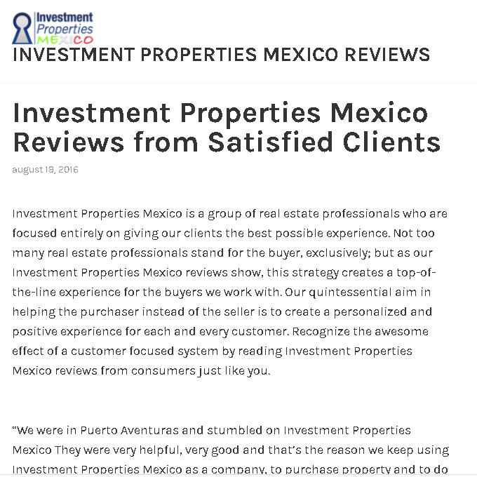Investment Properties Mexico fake
