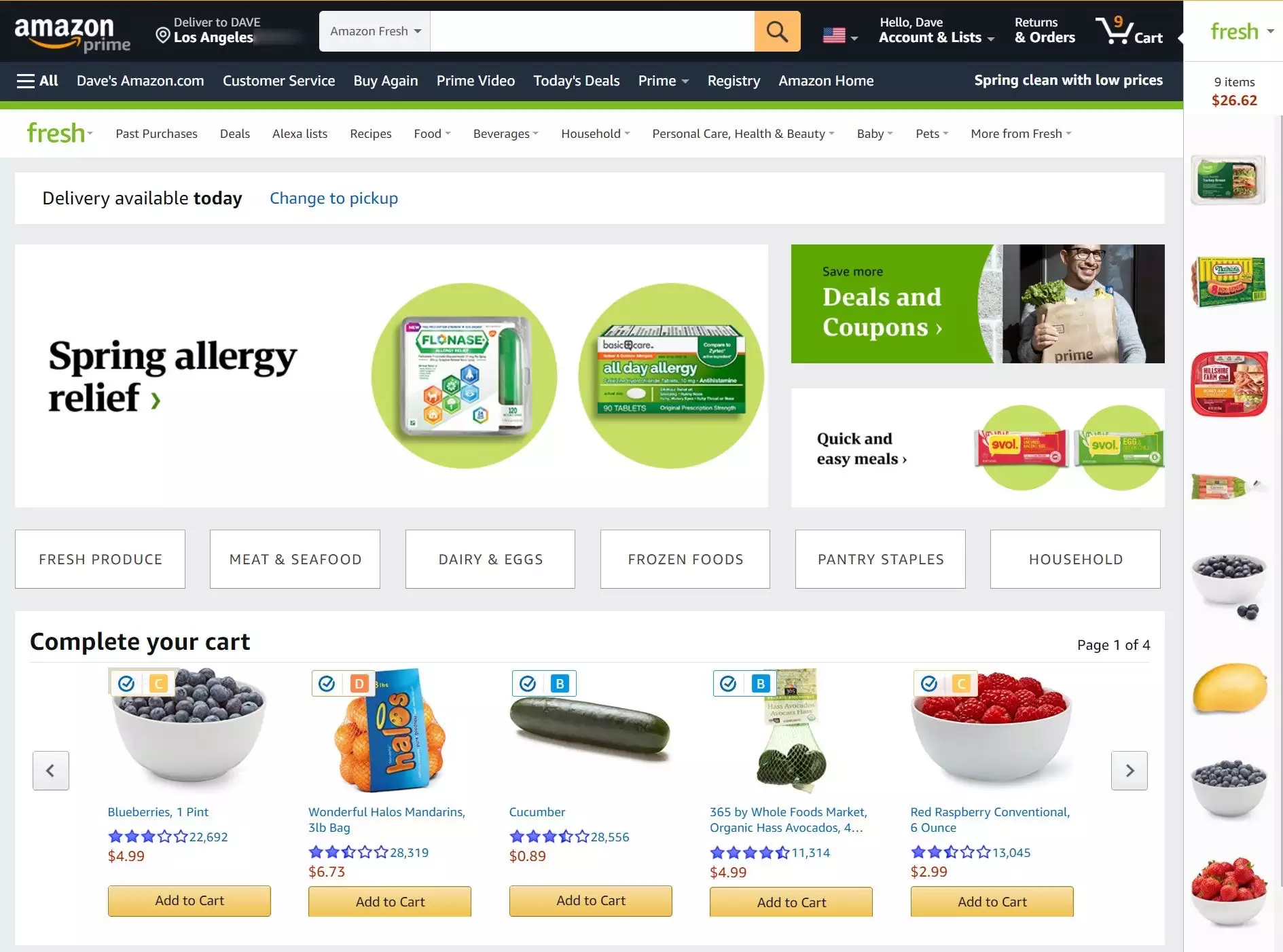 Step 1: Open up the Amazon app, or website, and log into your account. Then, type in the search bar the products that you would like to buy.  <p>And add the items to the cart. The daily utility items are automatically added to the Amazon fresh cart.