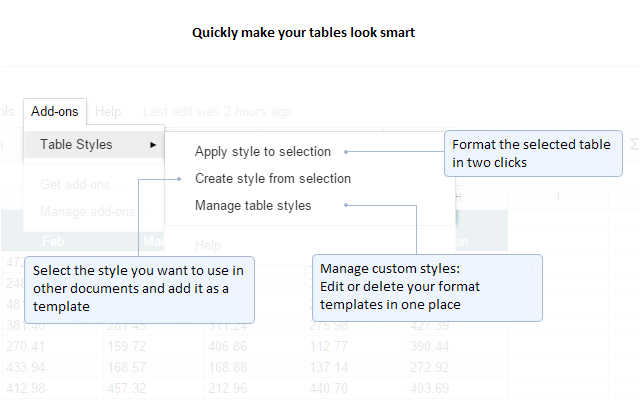 Table Styles - G Suite Marketplace