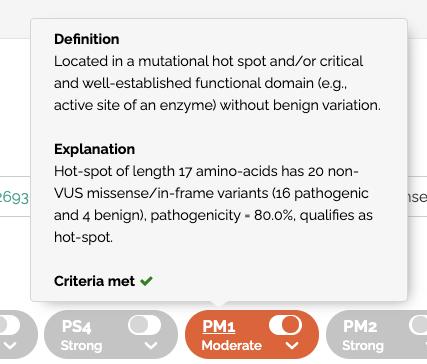ACMG rule descriptions