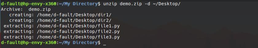 unzip command