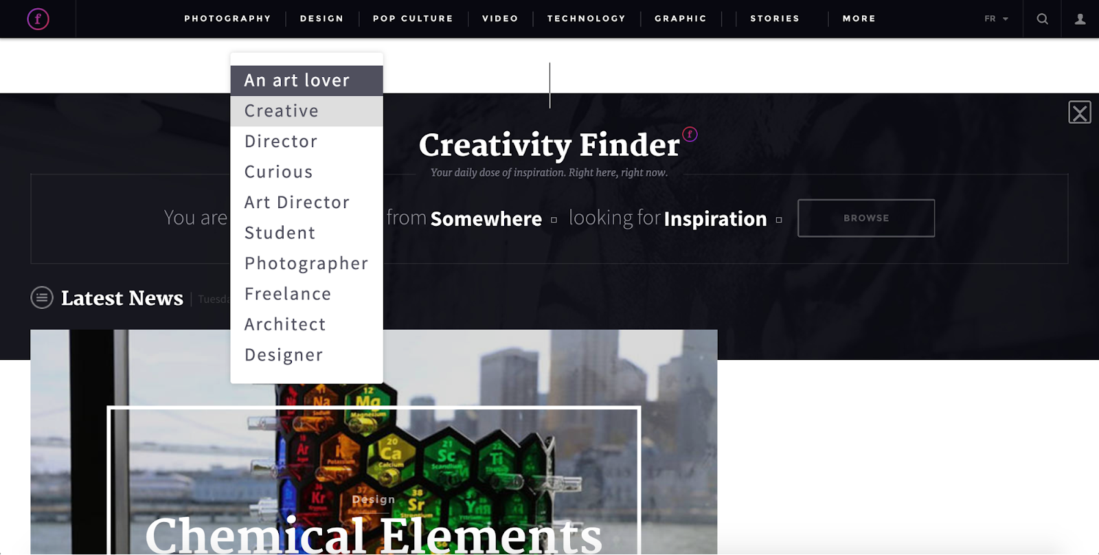 "Fubiz's ""creativity finder"" customization tool"