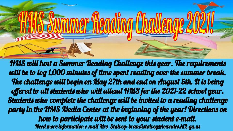 A picture of the HMS Summer Reading Challenge Slide