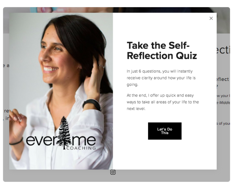 pop-up quiz for coaching business
