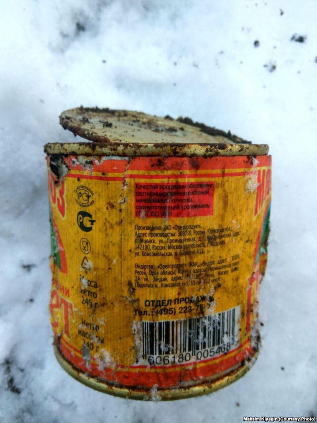 Тушенка из Орловской области, найденная на месте дислокации сепаратистов