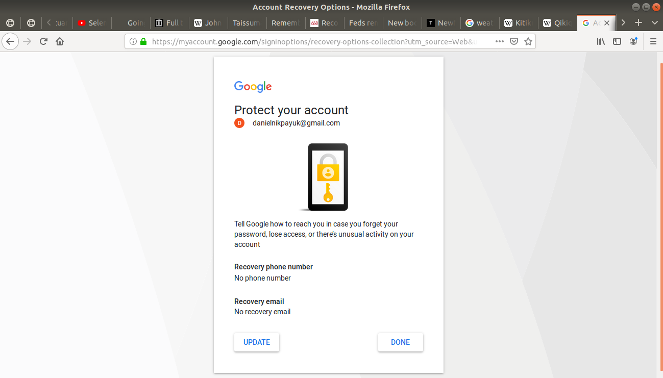 Protect your account open on Gmail's login page