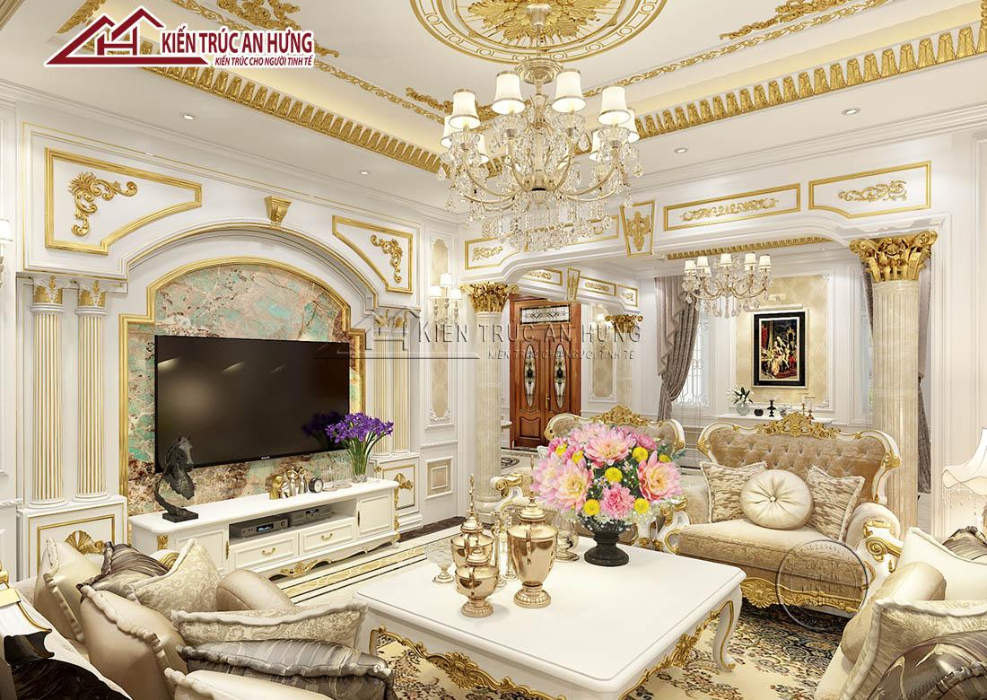 Phòng khách được thiết kế theo ngôn ngữ cổ điển mang vẻ đẹp hoàng gia, sang trọng