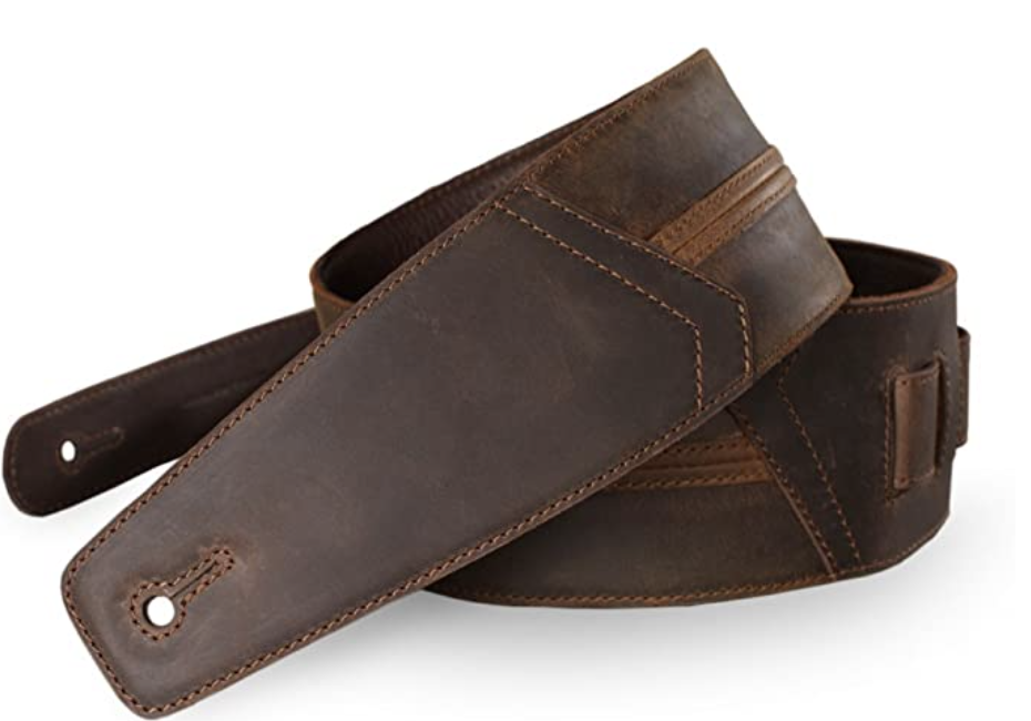 The Best Straps And Strap Locks For Guitars Blog Rock Stock pedals Whiskey Brown Full Grain Padded Leather Guitar Strap