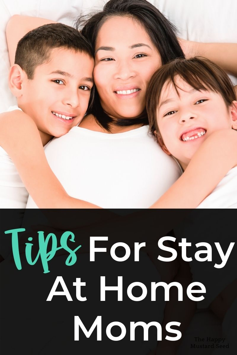 Tips for Stay At Home Mom Mom snuggling with her children