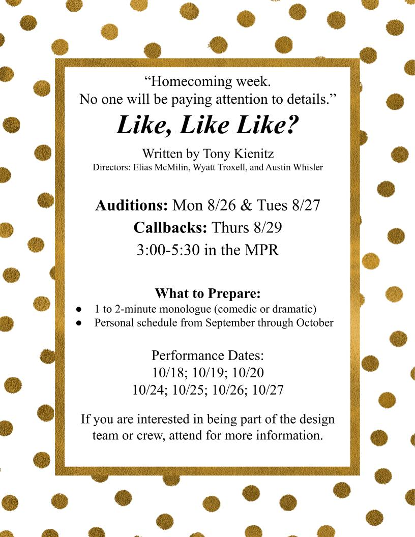poster for the play like, like like announcing auditions