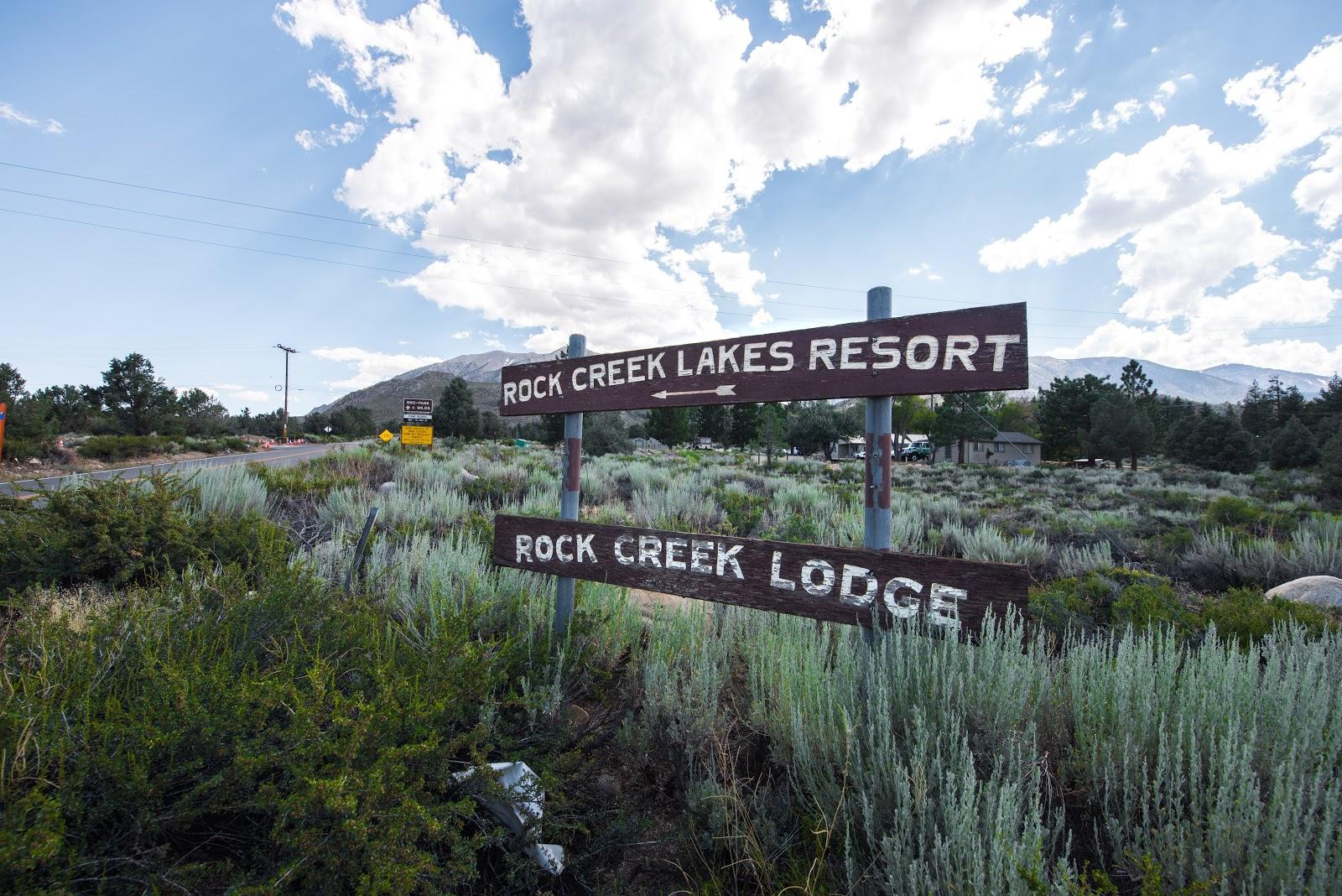 Rock Creek Road bike climb - Rock Creek Lodge and Rock Creek Lakes Resort sign